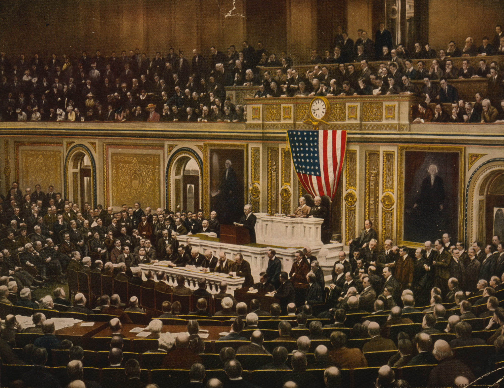 President Wilson announces the declaration of war to Congress, 1917.