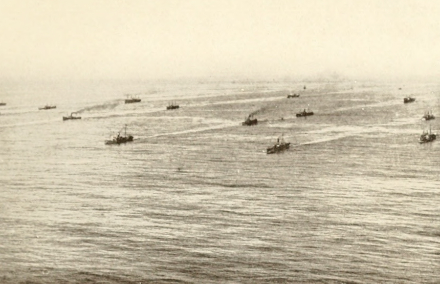 An Allied naval convoy..