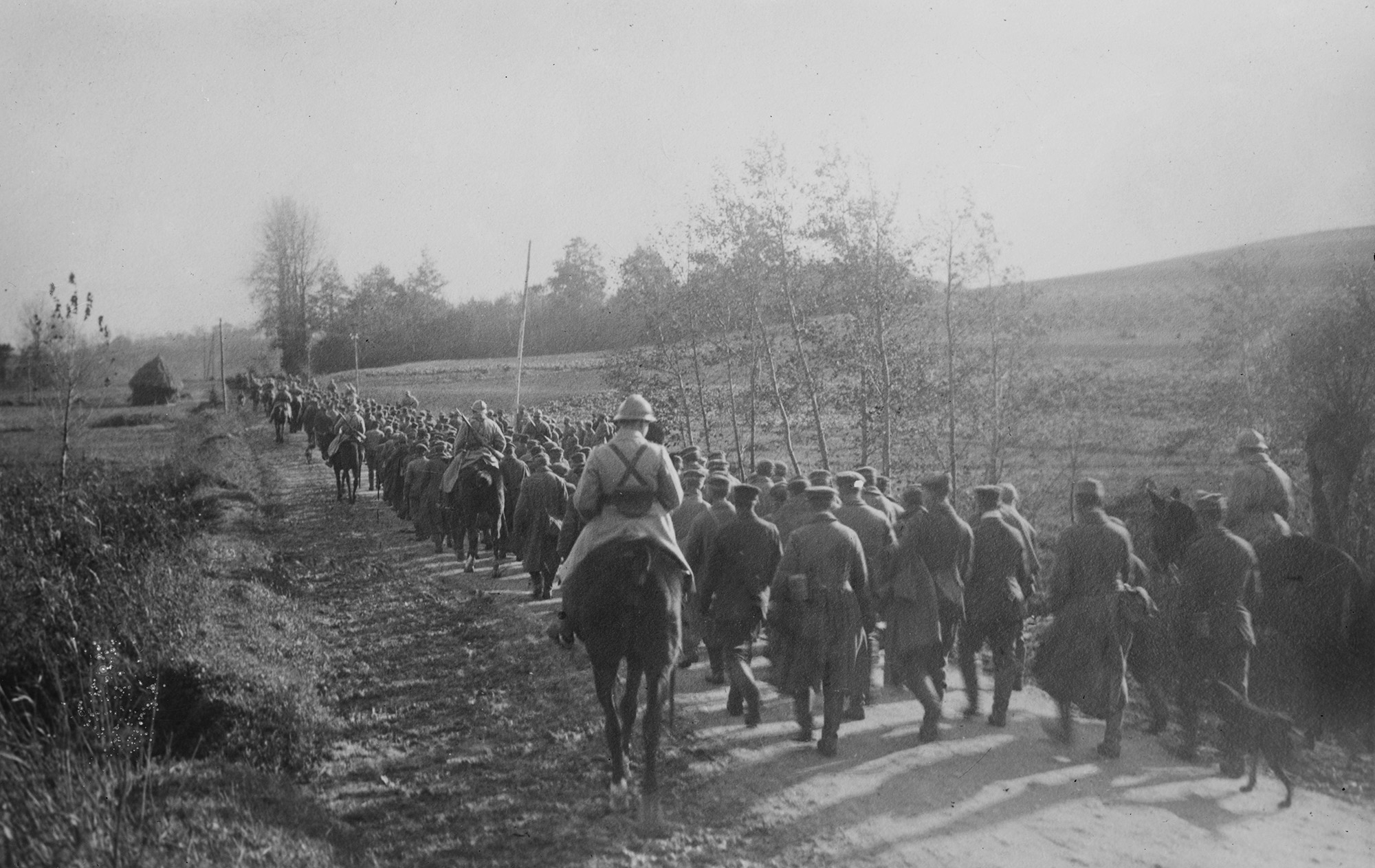 German prisoners being escorted to the rear by French cavalry.