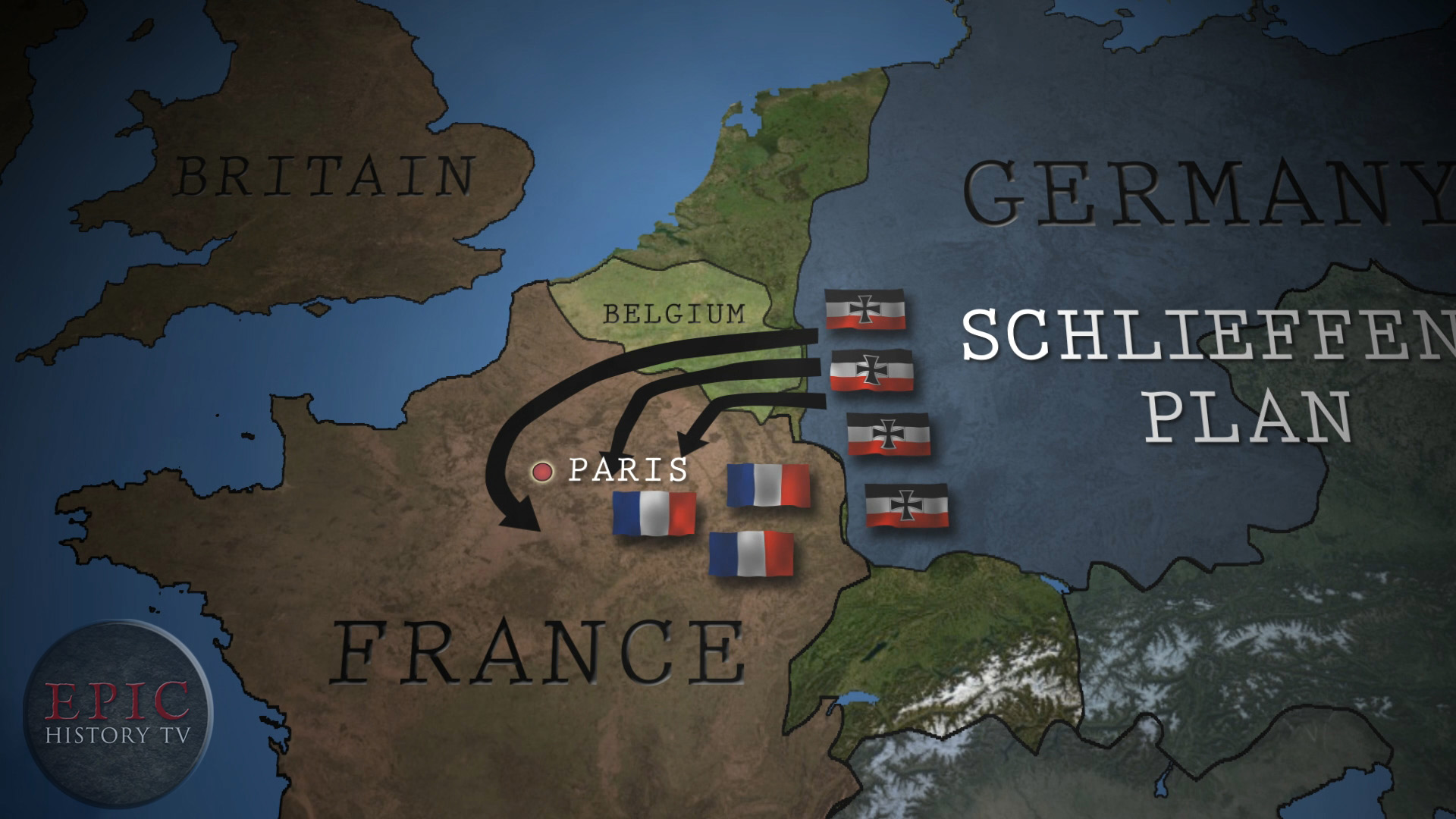 The Schlieffen Plan, named after German Field Marshal von Schlieffen, was Germany's answer to the problem of facing a war on two fronts - against France in the west, and her ally Russia in the east. The solution, according to the plan, was to launch a rapid invasion of France through neutral Belgium, encircle Paris, and win a decisive victory against the French army, before moving German forces to the east, to face Russia, whose army was predicted to take much longer to mobilise. A modified version of this plan was enacted by the German High Command in the summer of 1914, but was halted by the Allies at the Battle of the Marne. Many historians question whether it was ever feasible.  WATCH THE VIDEO