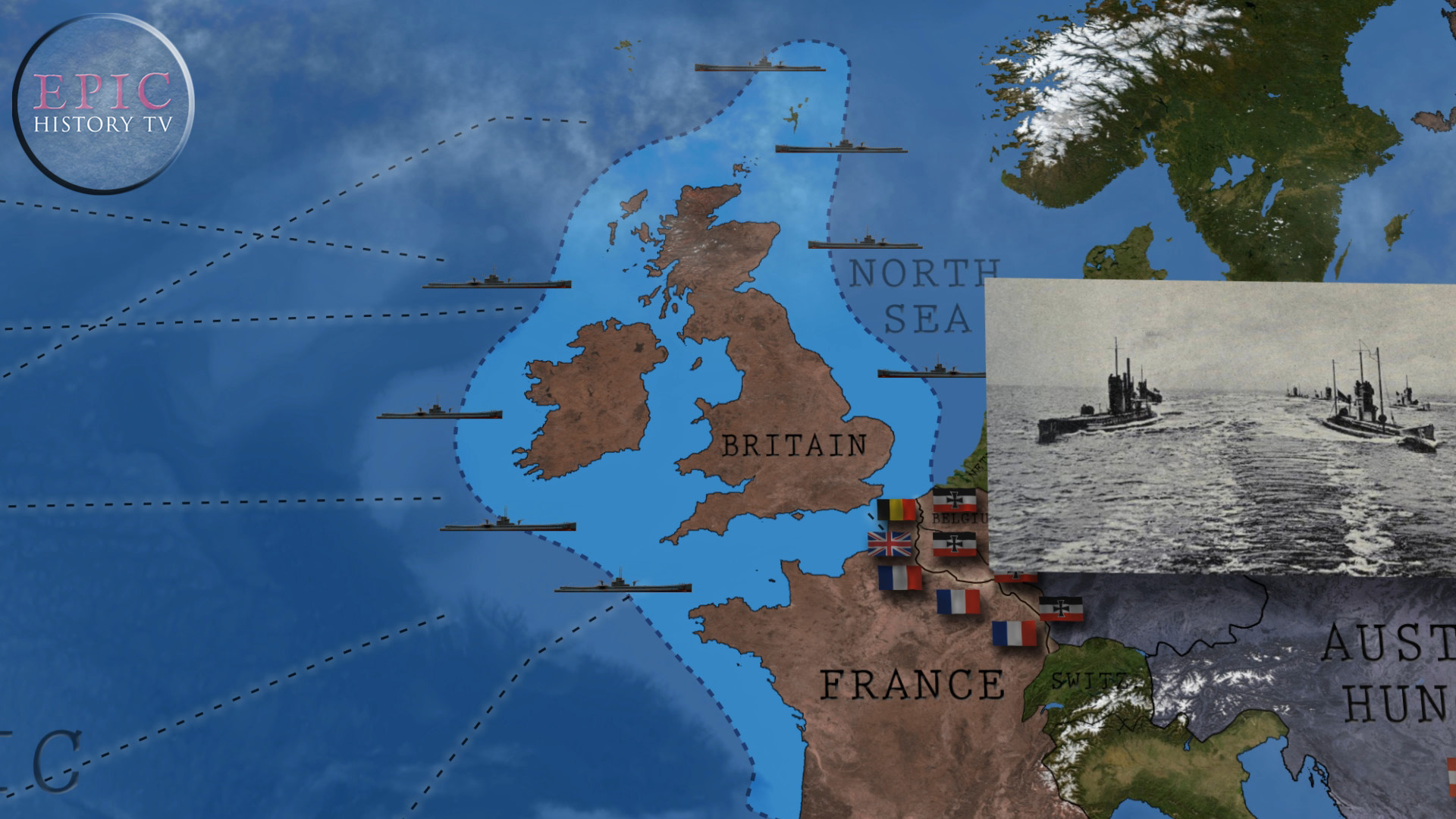 In February 1915 Germany announced a U-boat blockade of Britain, in retaliation for the British naval blockade of Germany. German submarines would attack Allied ships in British coastal waters without warning (it had been customary, before World War One,to give warning before attacking a merchant ship to allow the crew to escape), and also warned that neutral shipping would be at risk since clear identification of a ship's nationality was difficult, not least because Allied shipping often flew neutral colours to evade attack (another customary practice of war at sea). Ultimately, although the U-boats sank large numbers of Allied merchant ships and came dangerously close to starving Britain into surrender,the strategy backfired because it hastened American entry into the war.  WATCH THE VIDEO