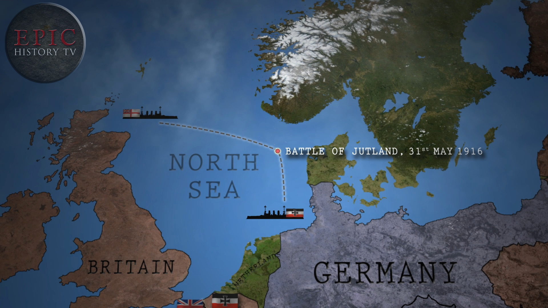 The Battle of Jutland, named after the Jutland peninsula in Denmark, was the only large-scale naval battle of World War One. The German fleet inflicted heavier losses on the British, but their withdrawal from the engagement,and failure to inflict a decisive defeat, meant that Britain's naval blockade against Germany continued. The German fleet did not put to sea to challenge the British again.  WATCH THE VIDEO