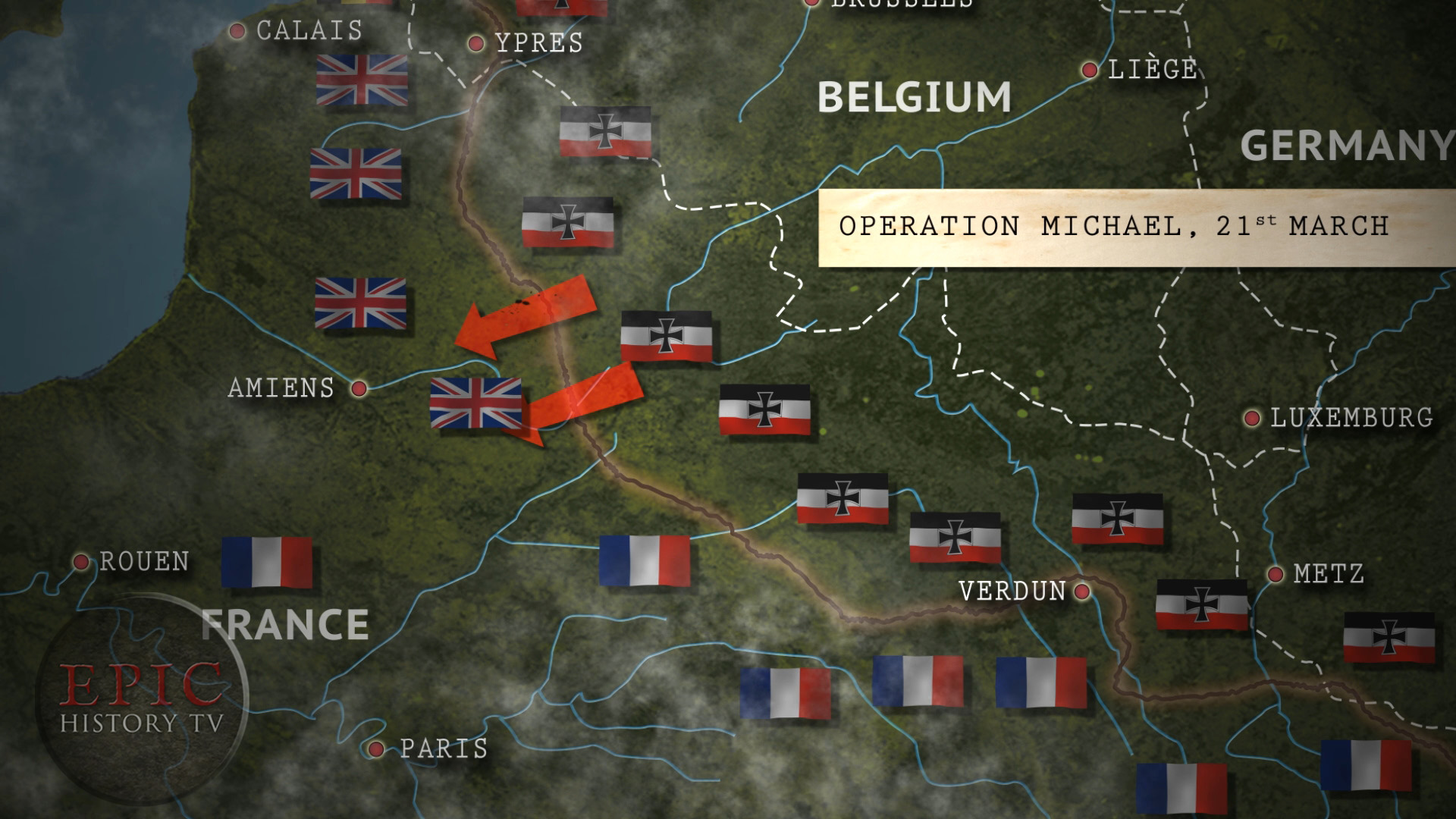 Operation Michael was the German codename for the last, great German offensive on the Western Front in World War One. Also known as the Ludendorff or Spring Offensive, this was Germany's last roll of the dice, a desperate attempt to win the war before American troops arrived in Europe in serious numbers. Despite initial success, the offensive was ultimately a costly disaster for Germany. WATCH THE VIDEO