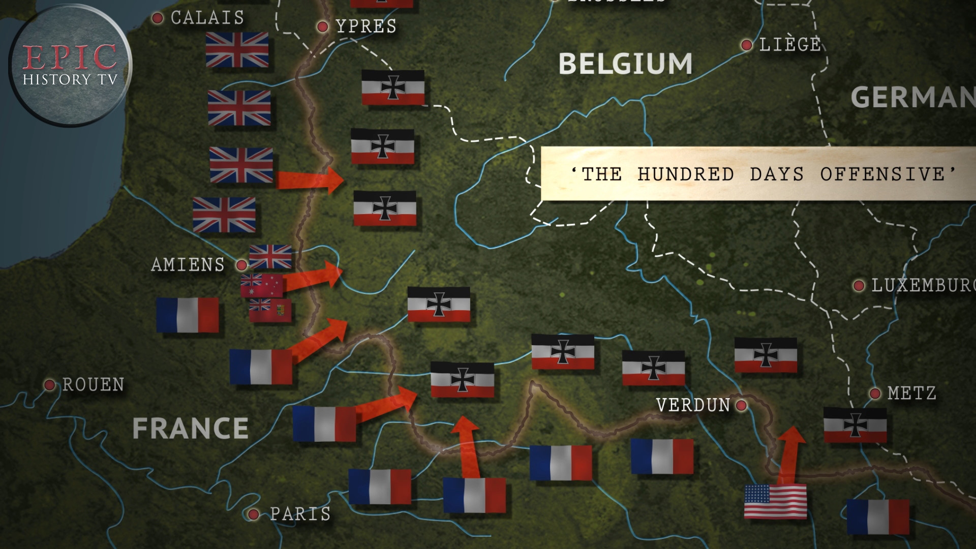 The Hundred Days Offensive was the final Allied offensive against the German army on the Western Front in World War One. Beginning in August 1918, it finished only with Germany's surrender in November.  WATCH THE VIDEO