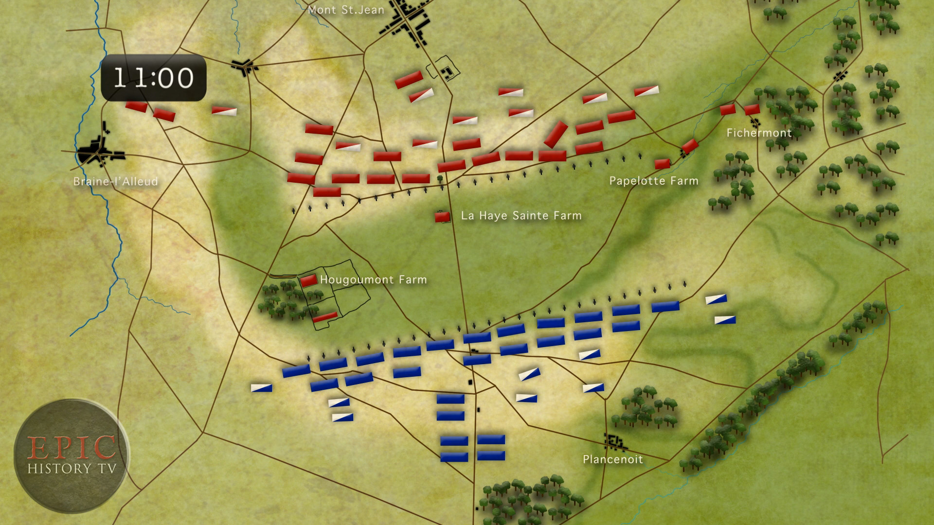 The Battle of Waterloo was fought 8 miles south of Brussels, on a battlefield chosen by  the Duke of Wellington,  commander of the Anglo-Allied army, for its defensive potential. The Anglo-Allied troops (RED) were deployed behind a gentle ridge, which offered protection from French artillery fire. Three farmhouses forward of the line, at Hougoumont, La Haye Sainte, and Papelotte, were fortified and garrisoned with elite troops. It was a deceptively strong position, but Wellington remained concerned that many of his troops were untested in combat.  WATCH VIDEO