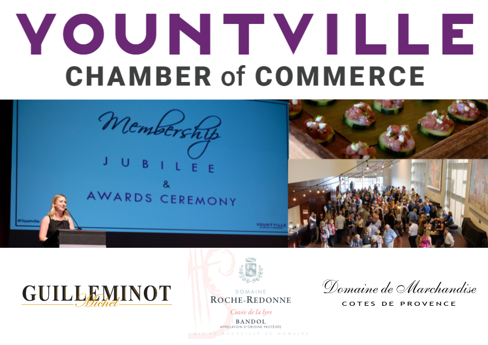 "Membership Jubilee & Awards Ceremony - Thursday, May 2nd 2019 - 5.30pm - 7.30pm at the Lincoln Theater""The Second Annual Membership Jubilee is a thank you to our members. A celebration of business and our community. Join us as we shine a spotlight on Yountville and Napa Valley businesses and celebrate the people working every day to ensure their success.This is the premier awards celebration, honoring chamber member businesses that represent true business excellence. Also, hear an update on what's next from your chamber.This is the elite networking event of the year, you won't want to miss it!Register below for Early Bird Pricing!""Featured wines: Champagne Guilleminot 'Blanc de Noirs' Brut Tradition - Dm. Roche Redonne, Bandol, Red Blend - Dm. de Marchandise, Côtes de Provence, Rosé"