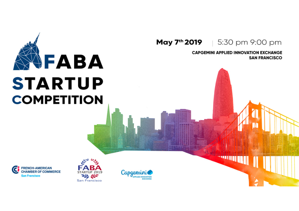 French American Business Awards - Tuesday, May 7td 2019 - 5.30pm - 9pm at Capgemini Innovation ExchangeAs a new business here in the US, we're participating!Each startup will have a demo area and attendees will be called to virtually fund the ones they feel are the most promisingThe five projects with the highest funds will then pitch to the audienceThe final vote will be held during the FABA Ceremony and determine the