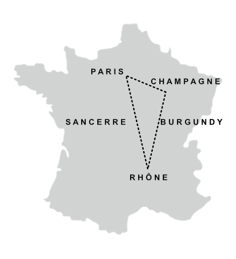 Itinerary #2   D1: Arrive in Paris Night at the  Niepce Hotel   D2: Visit of  Reims  (am) Visit Champagne Guilleminot (pm) Night in Beaune  D3: Visit of  Beaune  (am) Visit of Lucien & Fanny Rocault Night in  Saint Romain   D4:  Hermitage , Rhône (am) Visit Domaine des Favards (pm) Night at Gîte des Favards,  Violes   D5: Drive to  Sancerre  (am) Lunch in  Chavignol  Visit with Pascal Thomas (pm) Night at  Le Panoramic in Chavignol   D6:  Chateau de Versailles  (am) Paris Night at the  Niepce Hotel   D7: Morning in  Paris , leave in the afternoon