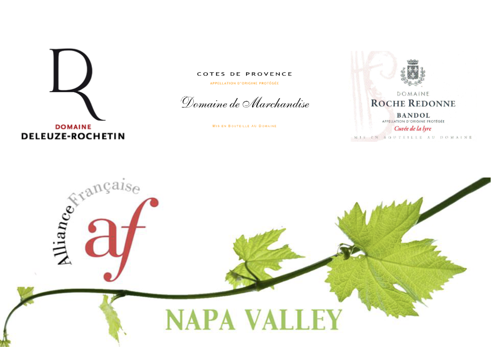 South of France wine tasting - Thursday, August 22nd 2019 - 6.30pm - 8pm at The Good Life Wine Collective Annex, 25 Enterprise Ct, Napa, CAFrench summer on the Méditerranée! Discover white, rosé and red wines from southern France. We'll explore Provence, the Bandol appellation and the larger Languedoc region through seven wines & three different producers.Join us for an evening of small bites, French wine tasting & education. Only 15 tickets available!This tasting is specifically for the Alliance Française of Napa Valley members but guests are welcome.Featured producers: Domaine de Marchandise / Domaine Deleuze-Rochetin / Domaine Roche Redonne