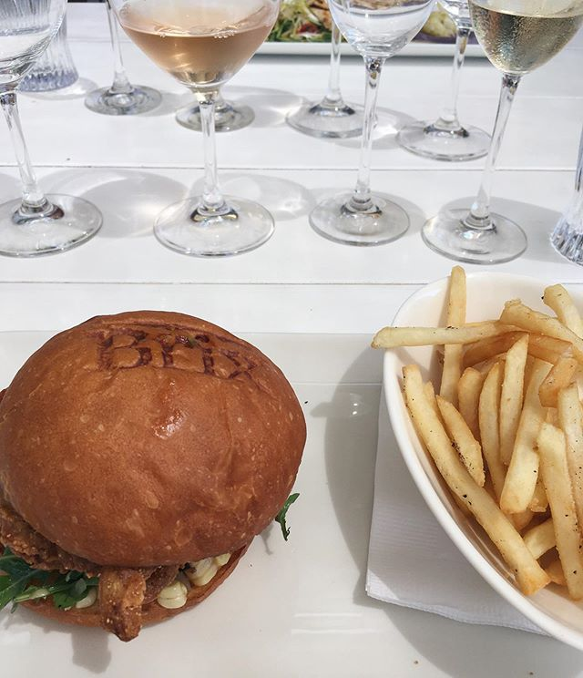crispy soft shell crab sandwich + domaine marchandise rosé. don't mind if i do...