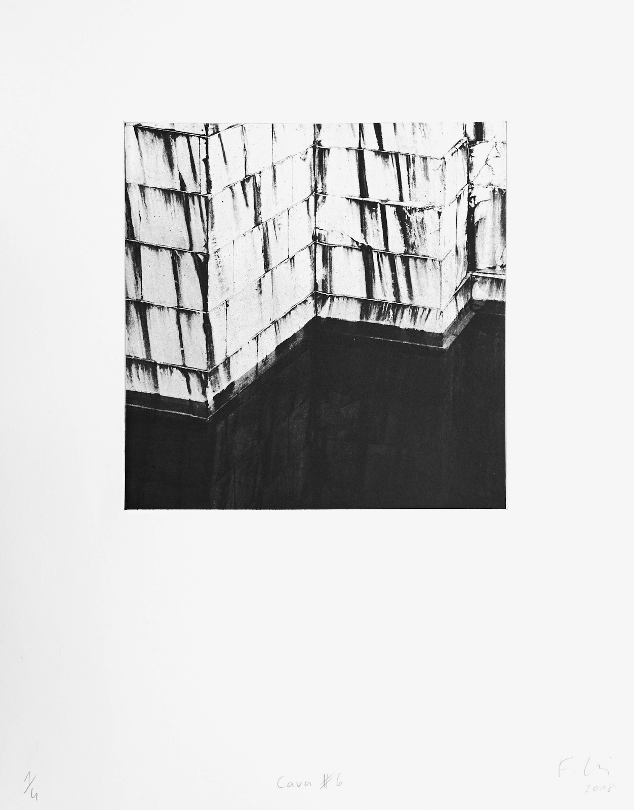 Cava #6 (2018)  medium: Photogravure  size: 36 x 46 cm  paper: Zerkall 270 g/qm  plate: 21.5 x 21.5 cm  edition: 7 copies  numbered: 1/4 - 4/4, 3 e.a.  printer: FWU