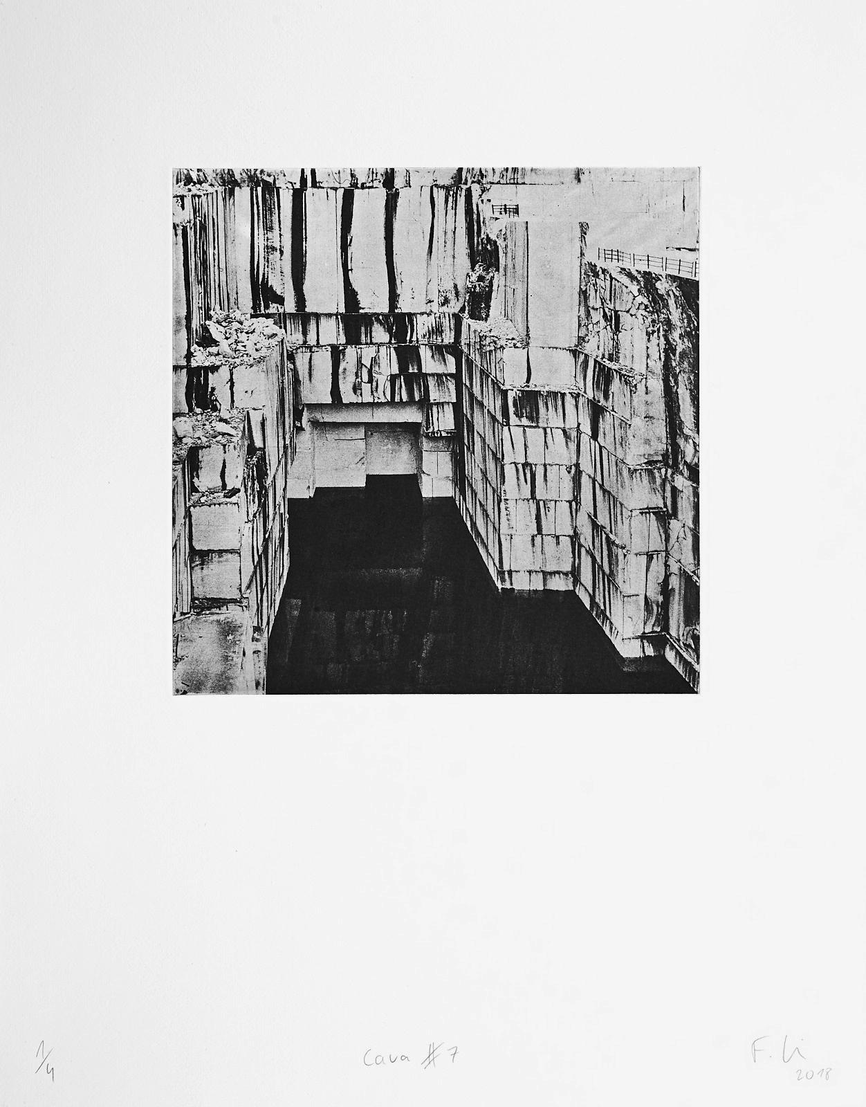 Cava #7 (2018)  medium: Photogravure  size: 36 x 46 cm  paper: Zerkall 270 g/qm  plate: 21.5 x 21.5 cm  edition: 7 copies  numbered: 1/4 - 4/4, 3 e.a.  printer: FWU