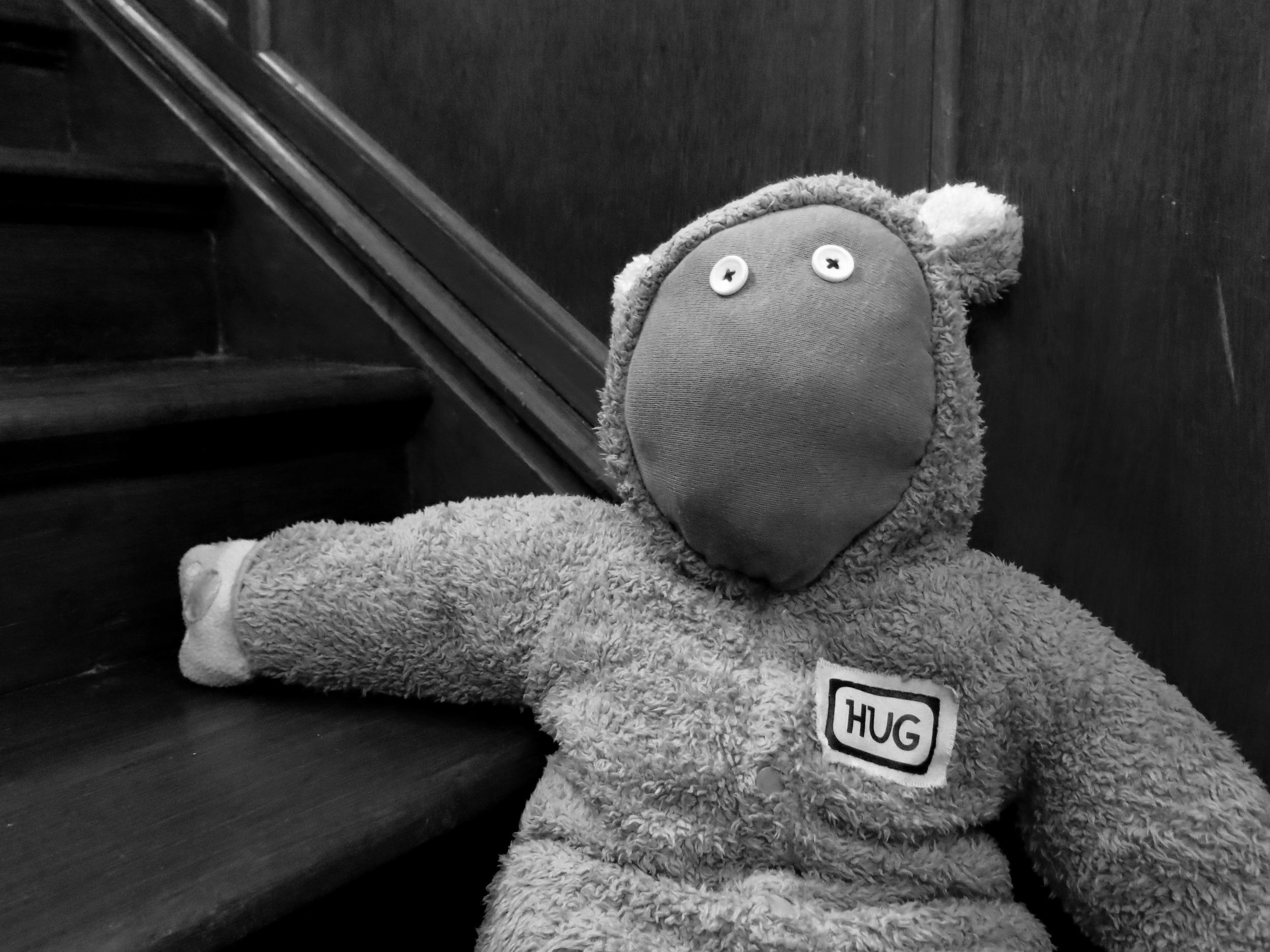 B & W stair bear.jpg