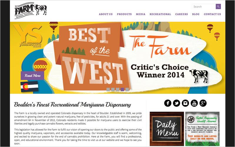 CLIENT The Farm, Colorado Dispensary  PROJECT Website  SERVICES Web Design, Creative Direction