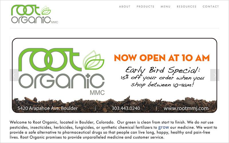 CLIENT Root Organic, Medical Dispensary   PROJECT Website   SERVICES Web Design & Development
