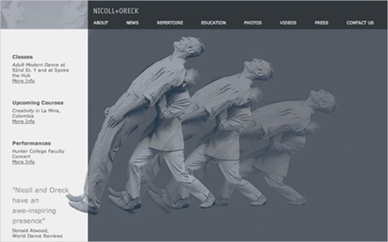 CLIENT Nicoll + Oreck   PROJECT Website Portfolio for Dancers   SERVICES Web Design & Development