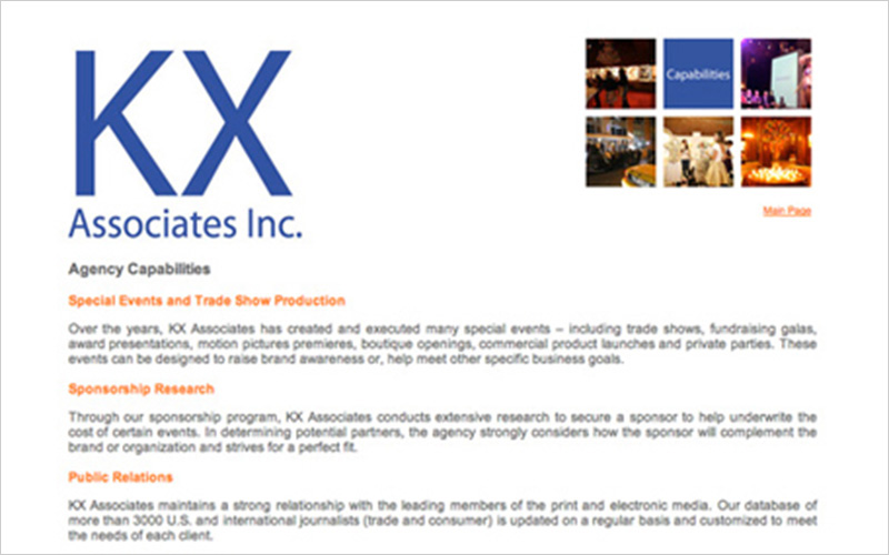 CLIENT  KX Associates Inc.   PROJECT  Website for a PR and Marketing Agency   SERVICES   Web Design Consulting & Instruction