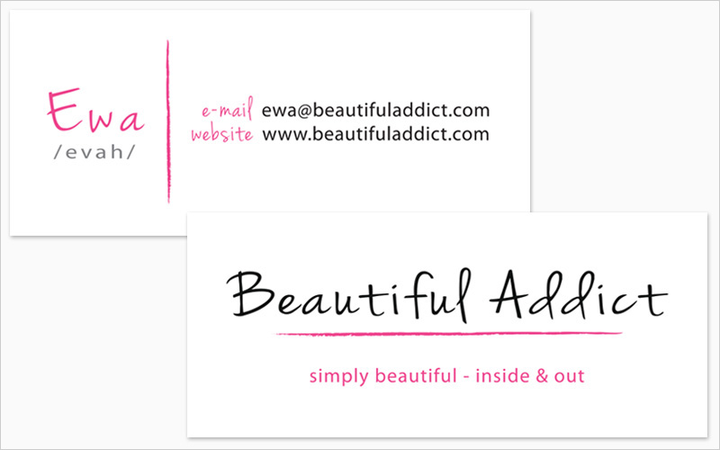 CLIENT Beautiful Addict   PROJECT 2-Sided Business Card   SERVICES Graphic Design, Prepress