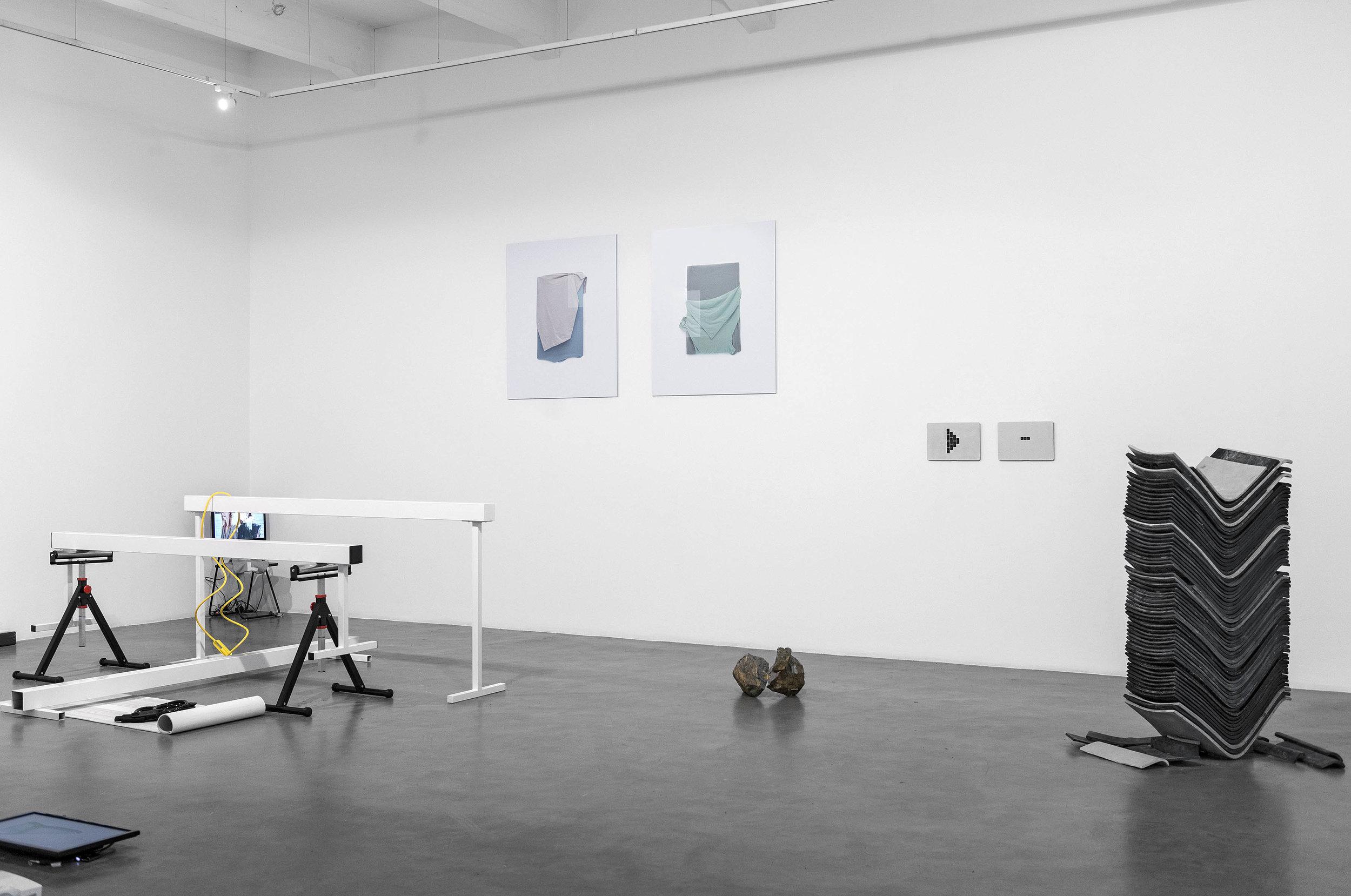 New Material, 2017 installation view. Artists in the show:Robert Cervera,Russell Chater,Marieke Gelissen,Paul Kindersley,Edith Kollath,Tyler Mallison,Nika Neelova,Michaela Zimmer