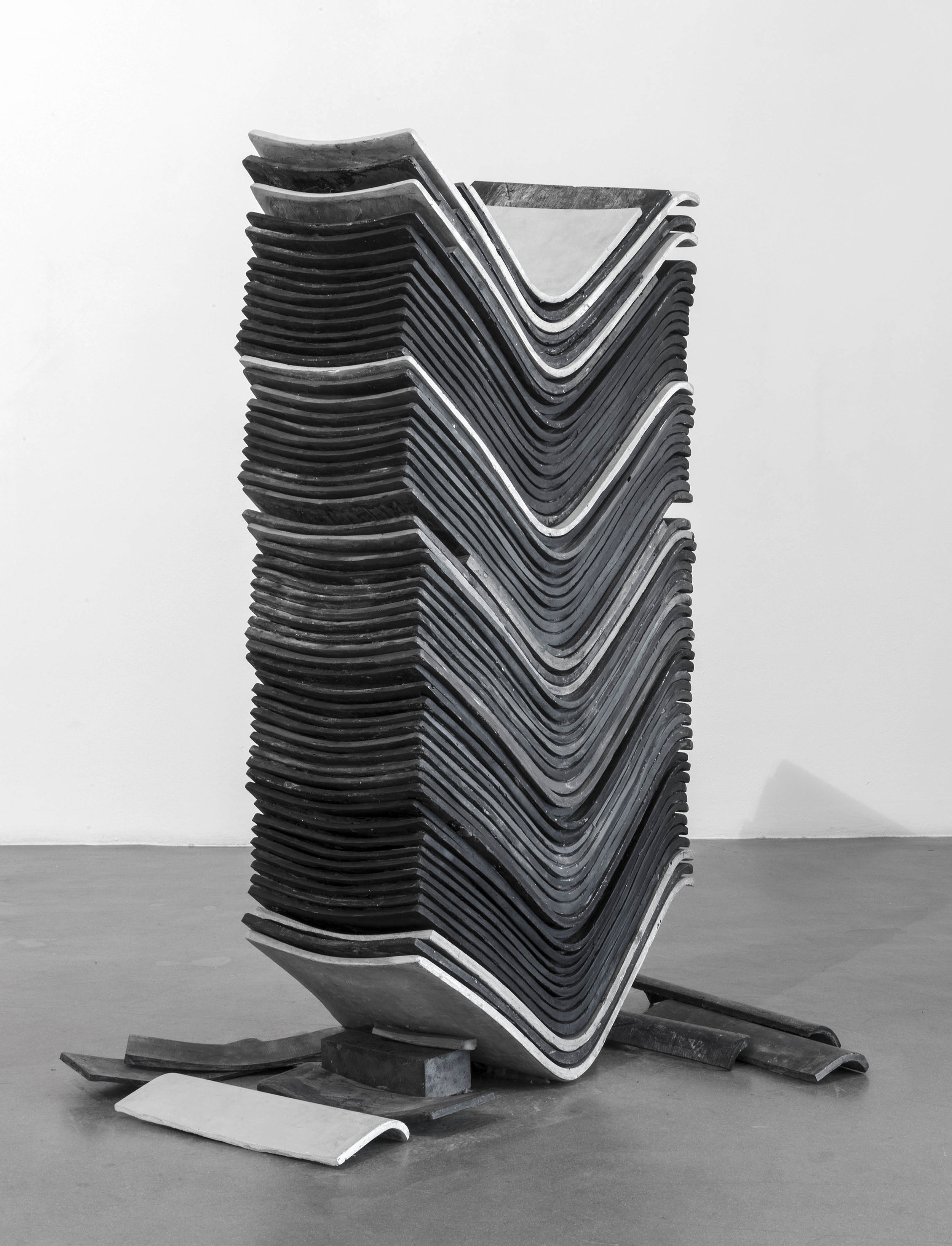 untitled (stack), 2017 stackable office chair seats cast in jesmonite and ashes