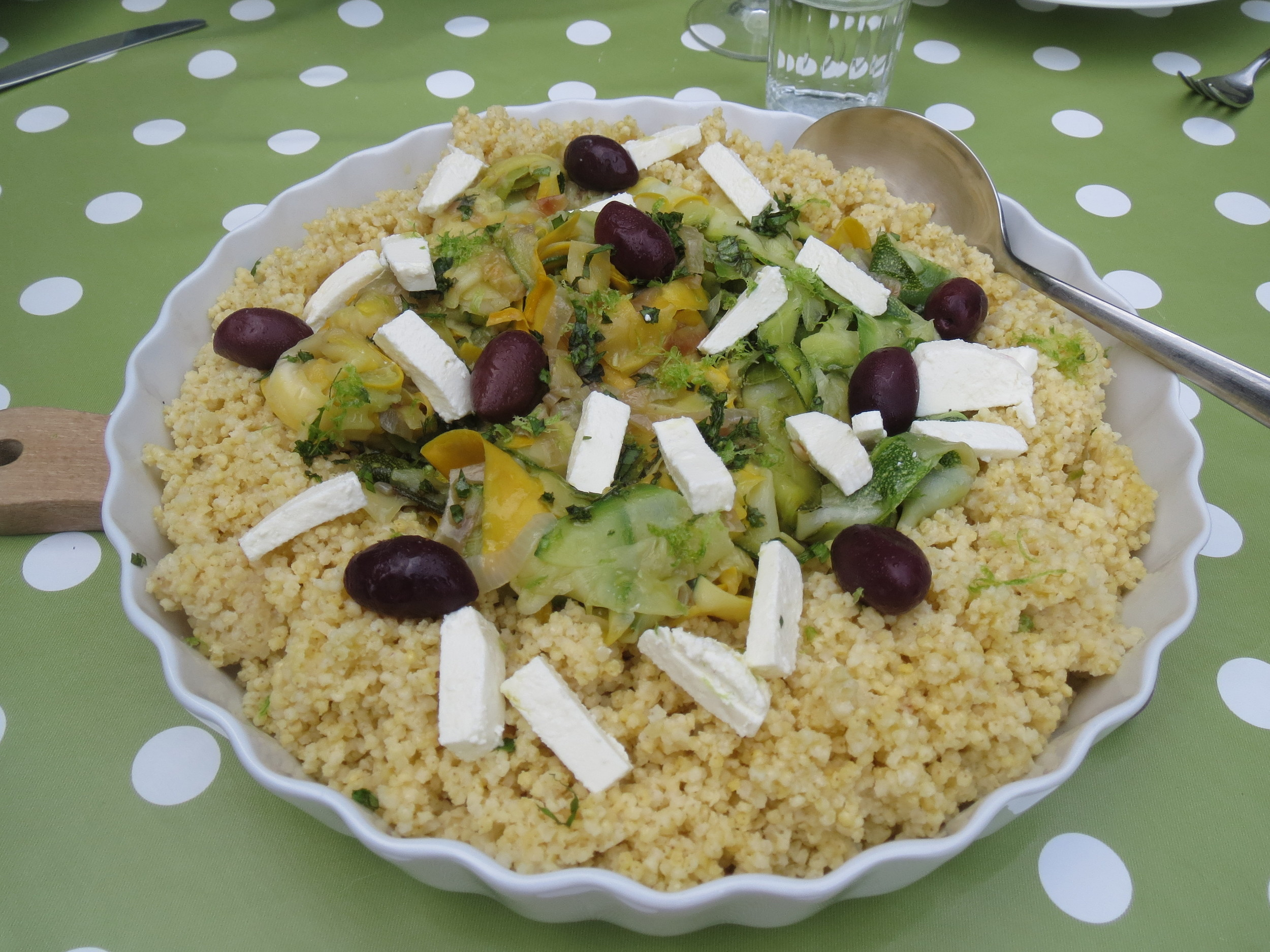 Courgette ribbons with lime and mint... served with millet