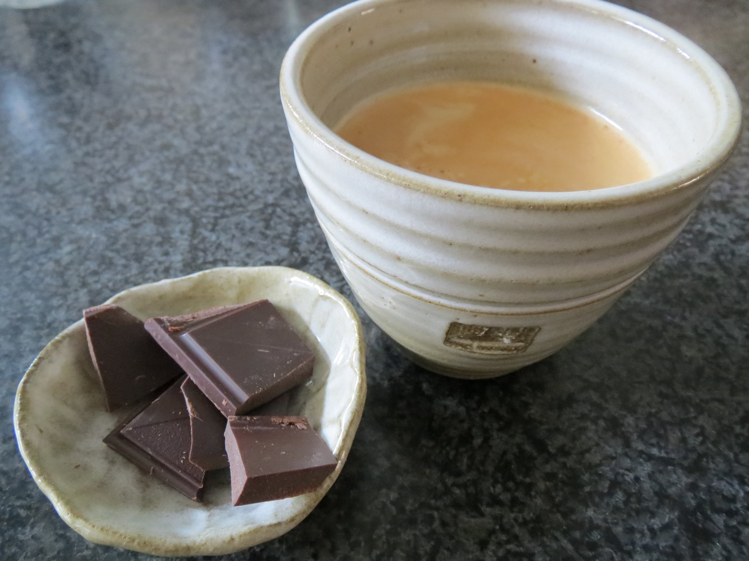 The beautiful coffee and chocolate moment...