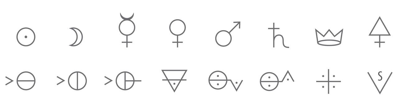 第一行从左至右:金(Au),银(Ag),水银(Hg),铜(Cu),铁(Fe),铅(Pb),锑(Sb),硫(S)。 第二行从左至右:盐酸(HCl),硝酸(HNO3),硫酸(H2SO4),碳酸钙(CaCO3),碳酸钾(K2CO3),氨水(NH4OH),乙酸(CH3COOH),乙醇(CH3CH2OH)。 注释:所有数字都应该是下表。