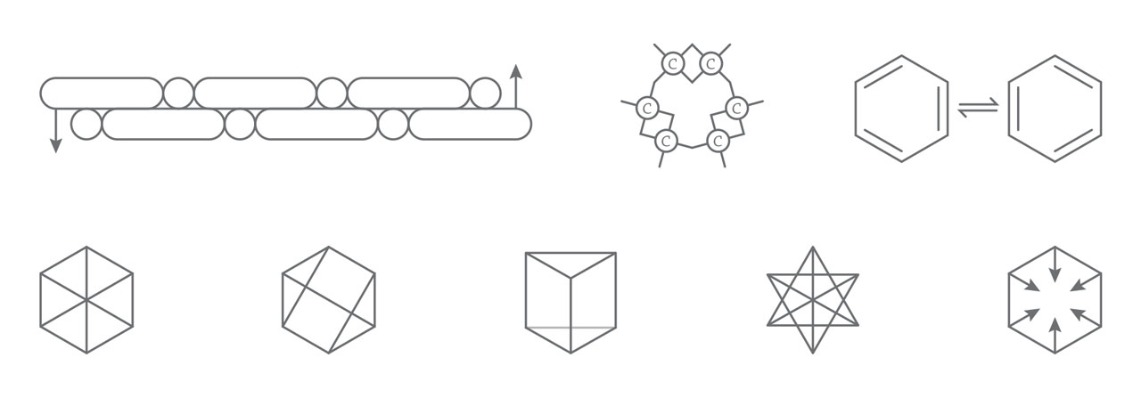 First row from left to right: first two are Kekulé benzene structures proposed in 1865, the last was Kekulé benzene structures proposed in 1872. Second row from left to right: Clauss structure I, Clauss structure II, Ladenberg Structure I, Landenberg structure II, Armstrong structure.