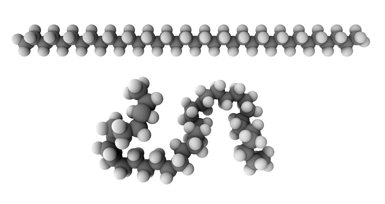 Top: rigid model of polyethylene. Bottom: Flexible model of polyethylene.