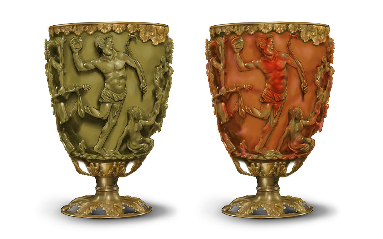 In normal ambient light, the Lycurgus cup is greenish (left); when a light source is put inside the cup, it displays a reddish color instead.