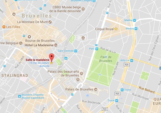 La Madeleine Rue du Duquesnoy 14 1000 Bruxelles  Train : Gare Centrale à 5 minutes à pied Metro : Lignes 1 et 5 (arrêt Gare Centrale) Bus : 29, 38, 63, 65, 66, 71, 86 (arrêt Gare Centrale), 48 et 95 (arrêt Grand Place)