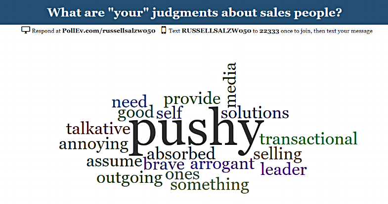 Word cloud from a recent 3YG sales training session in which participants were asked to share their judgments of salespeople – their own profession. Inner Sales Training begins to address these conscious and unconscious beliefs that get in the way of results.