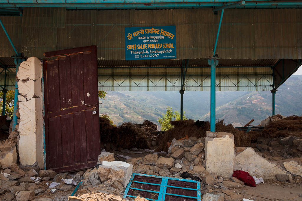 Shree Salme Primary School after the earthquake of April 25th in Nepal. The only thing left standing was the iron framework.