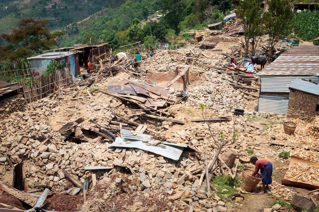 There are no buildings left standing in the vlllage of Thakani in Sindulpachowk after the April 25th Earthquake.