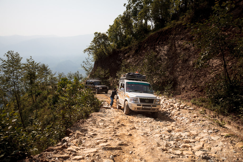 With a handicapped vehicle it takes a long time to navigate the poor mountain roads down from Pokali.