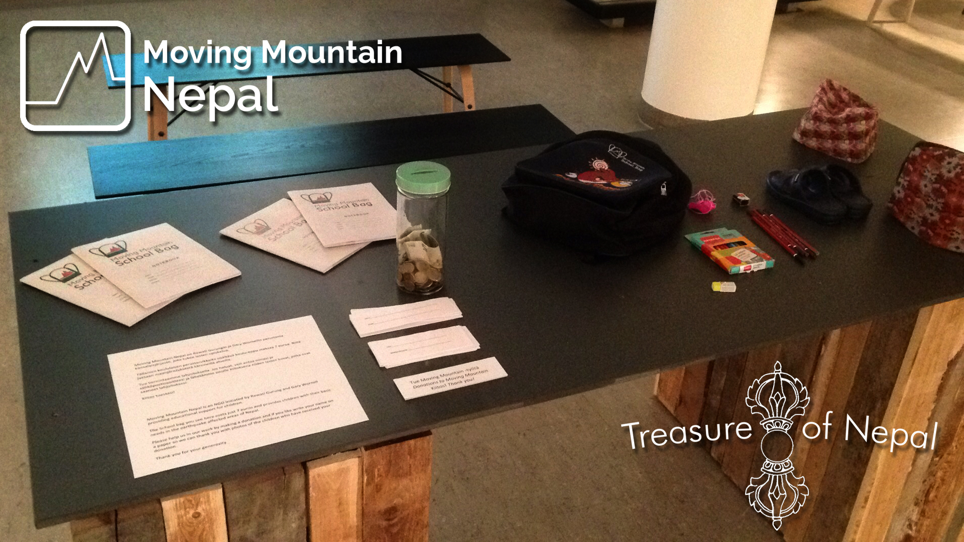 The Moving Mountain Nepal display at Lahti Art Museum where visitors can donate and put their names on papers to add to our list of supporters.