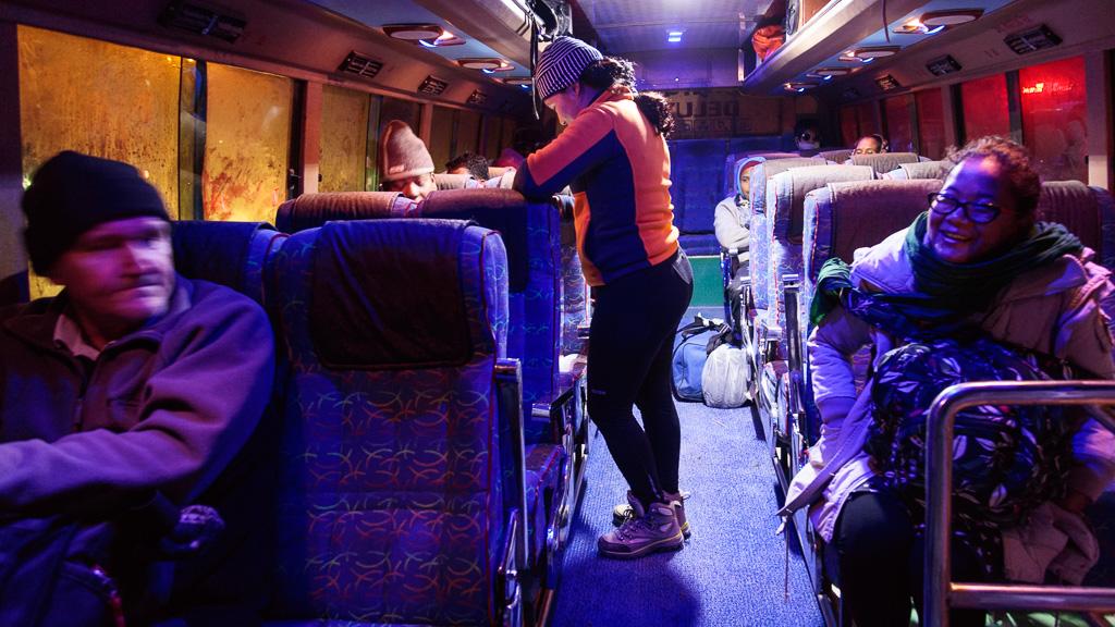 Kirmo Wilén from Finland, Smita Magar, Rewati Gurung and Sarada Gurung on the bus leaving Kathmandu for Sindhuli.