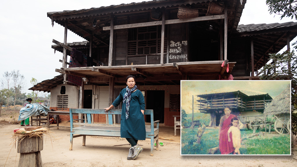 Rewati Gurung outside the family home where she grew up and a photo with her late mother from almost 30 years ago.