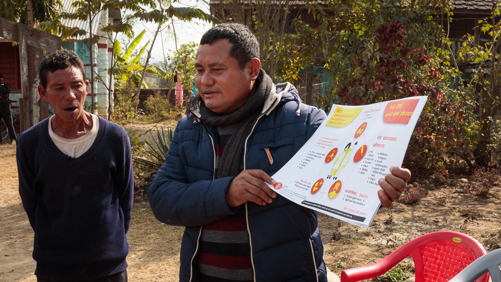 Medication for Nepal infographics being distributed during Moving Mountain Nepal's school bag day in Dudhali.