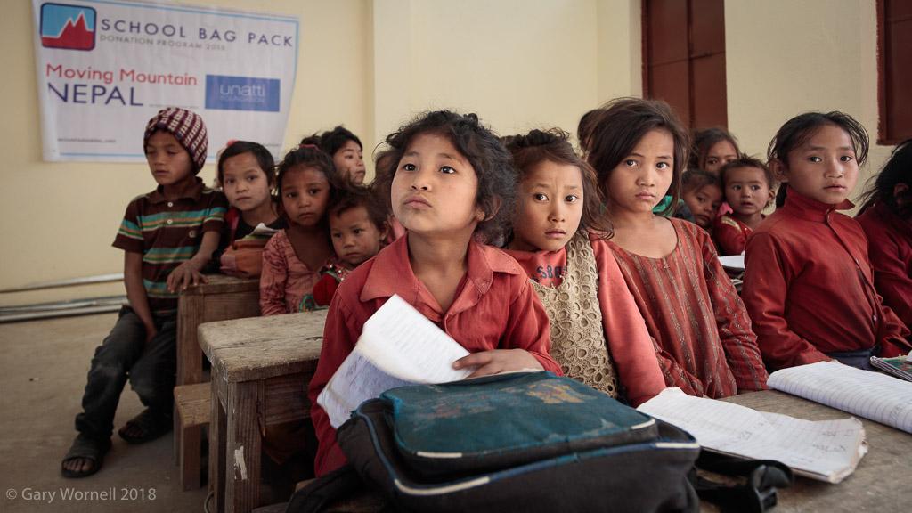 School children at their desks inside the new school building Shree Salme, Thakani.