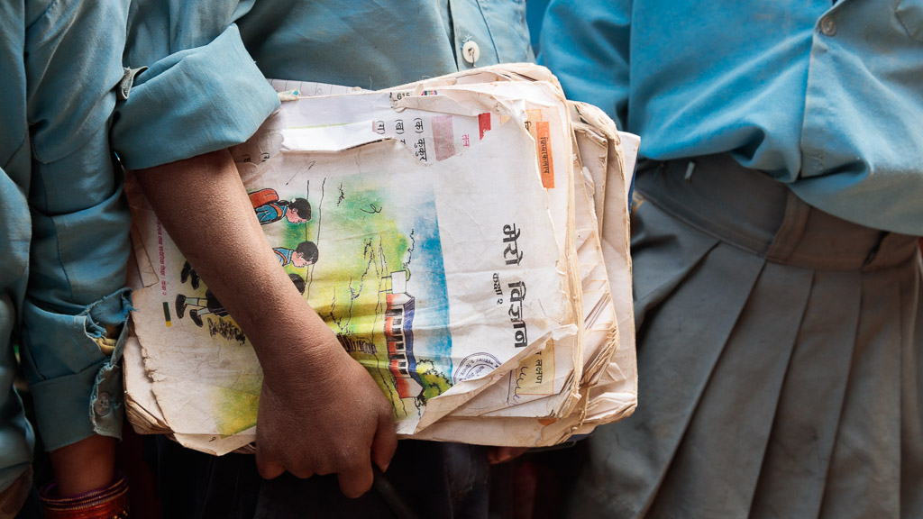 Children in these poorest of communities rarely have access or funds to buy school bags and Moving Mountain Nepal's donation day comes as a real surprise. These children rushed to put their books into the new bags as soon as they received them.