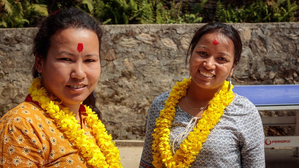 Founder of Moving Mountain Nepal Rewati Gurung and Unatti Foundation's Anita Prajapati at Shree Bhalchandra school on donation day