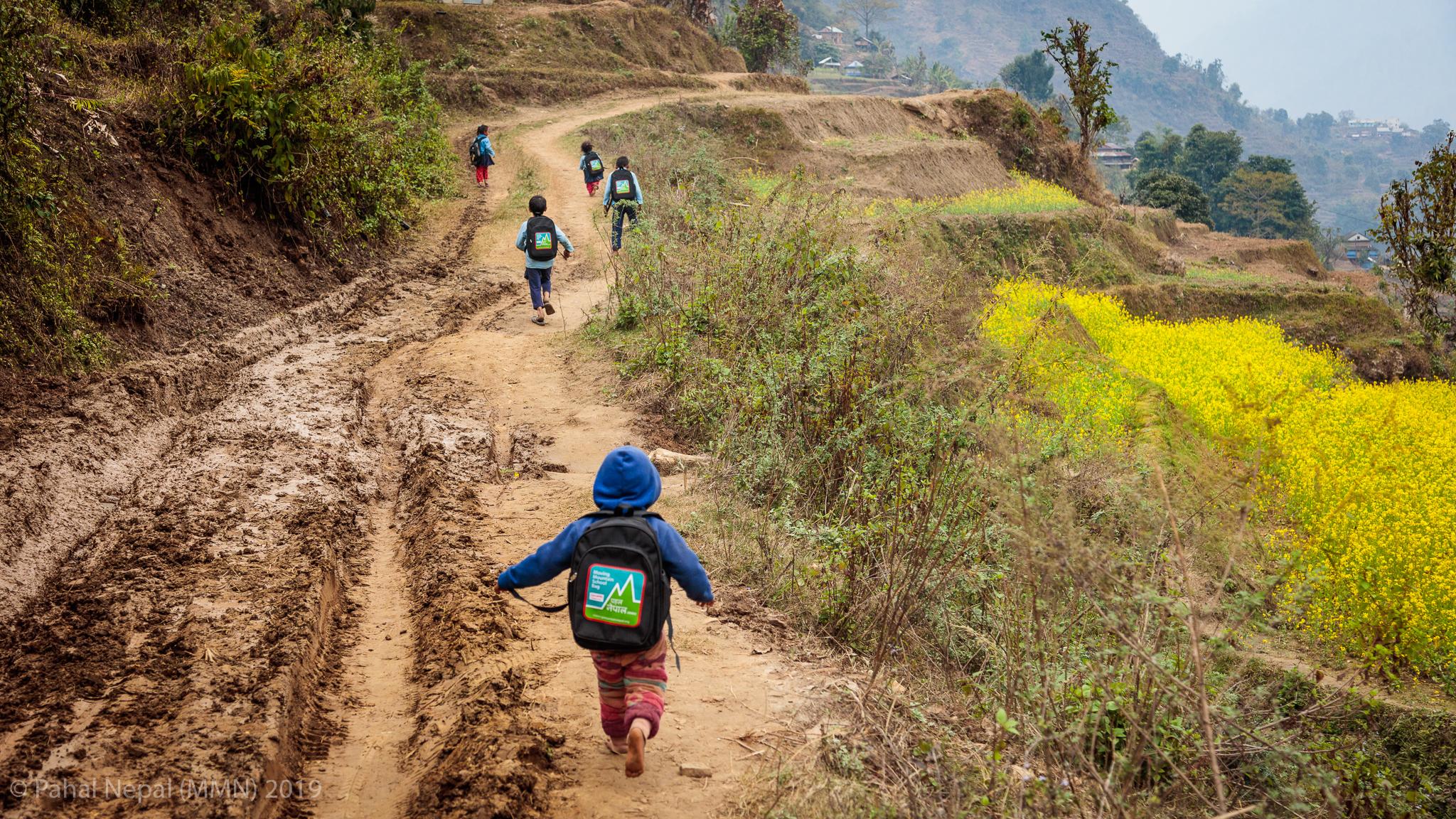 School children from Bhumistan basic school - Dadhing start their long walk home past bright yellow mustard fields.