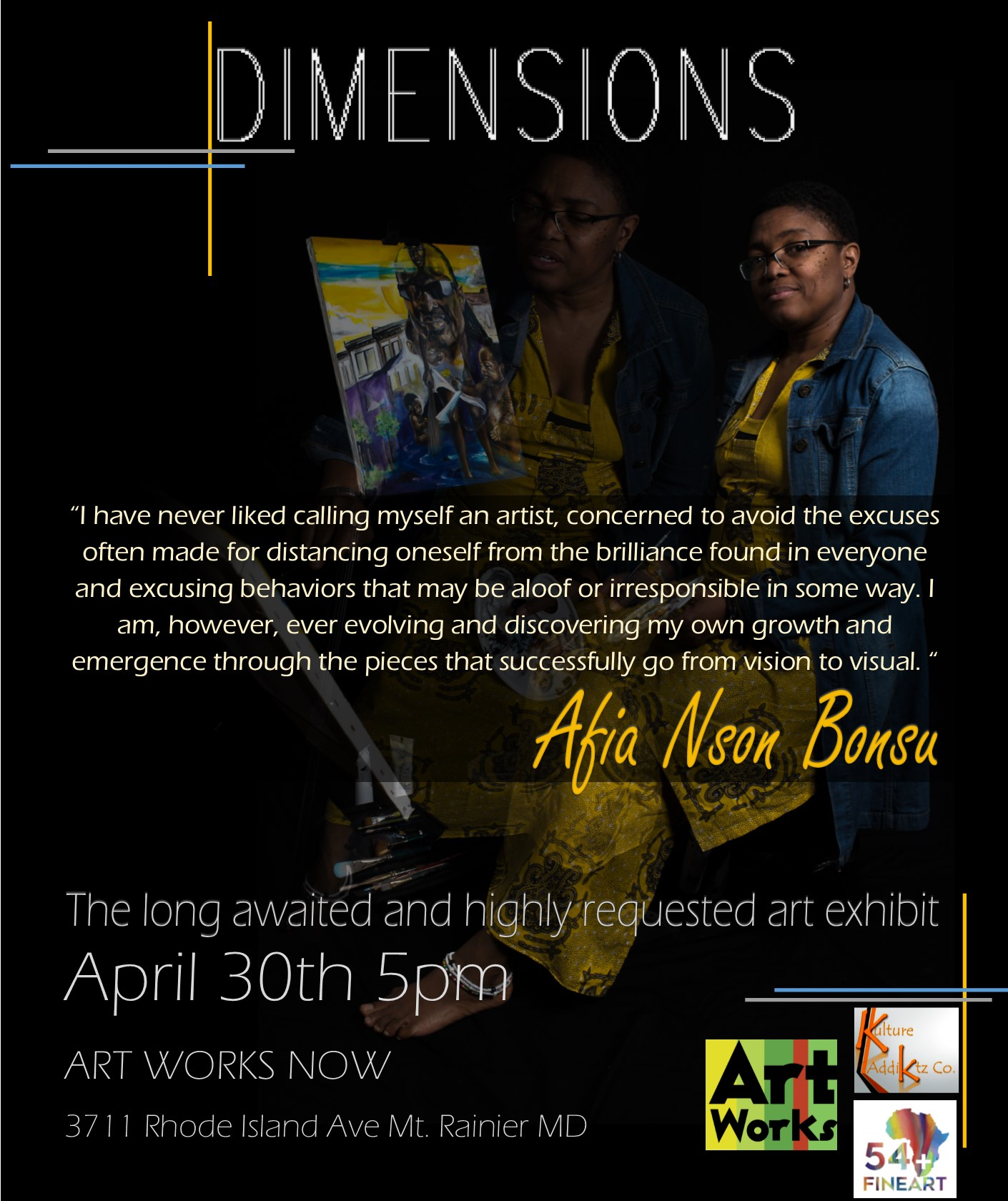 """The Kulture Addiktz Co. and 54+fineart presents the long-awaited solo exhibition entitled """"Dimensions"""" by Afia Bonsu."""