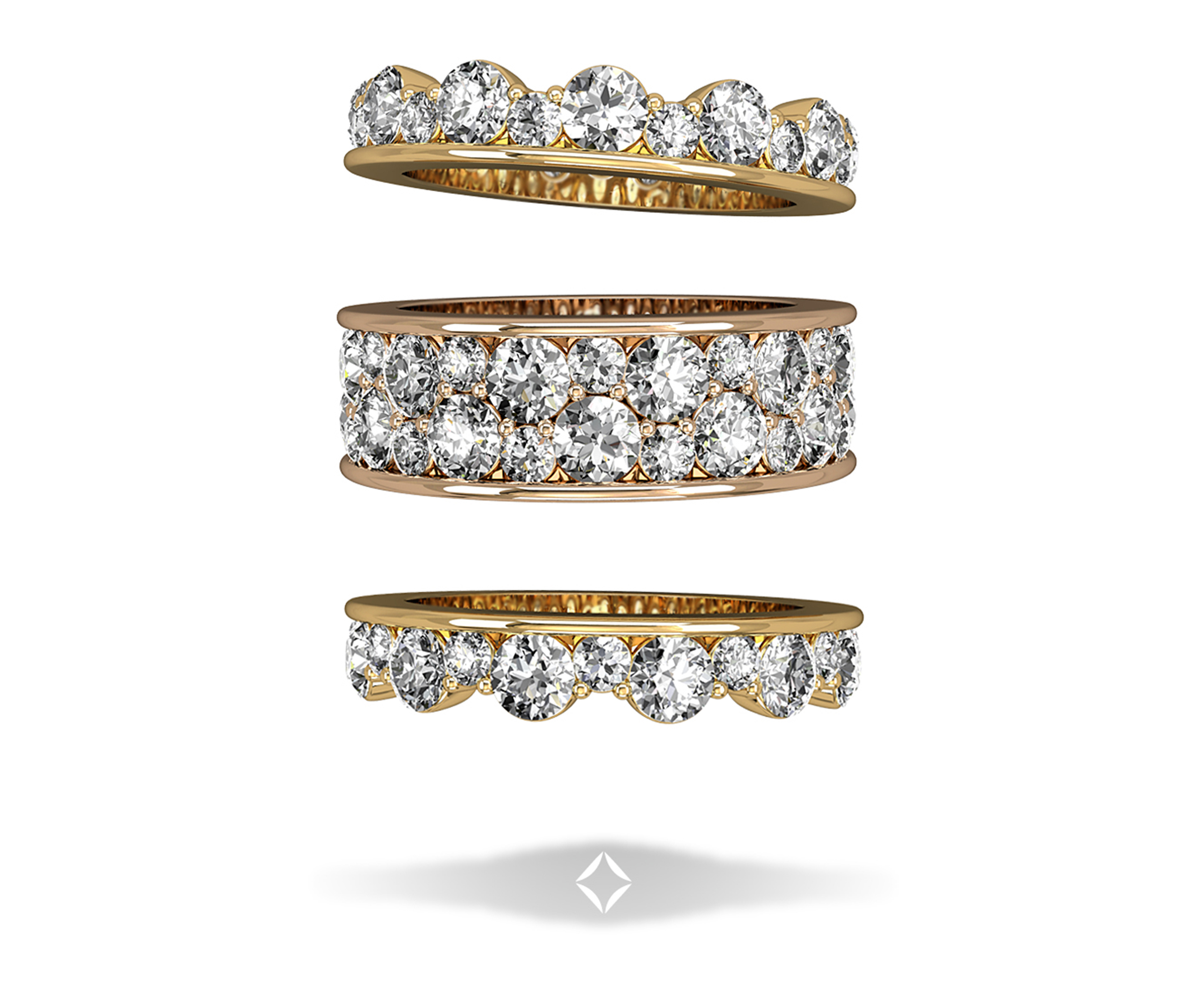 Stackable Yellow and Rose Gold & Diamond Wedding Bands by Integré