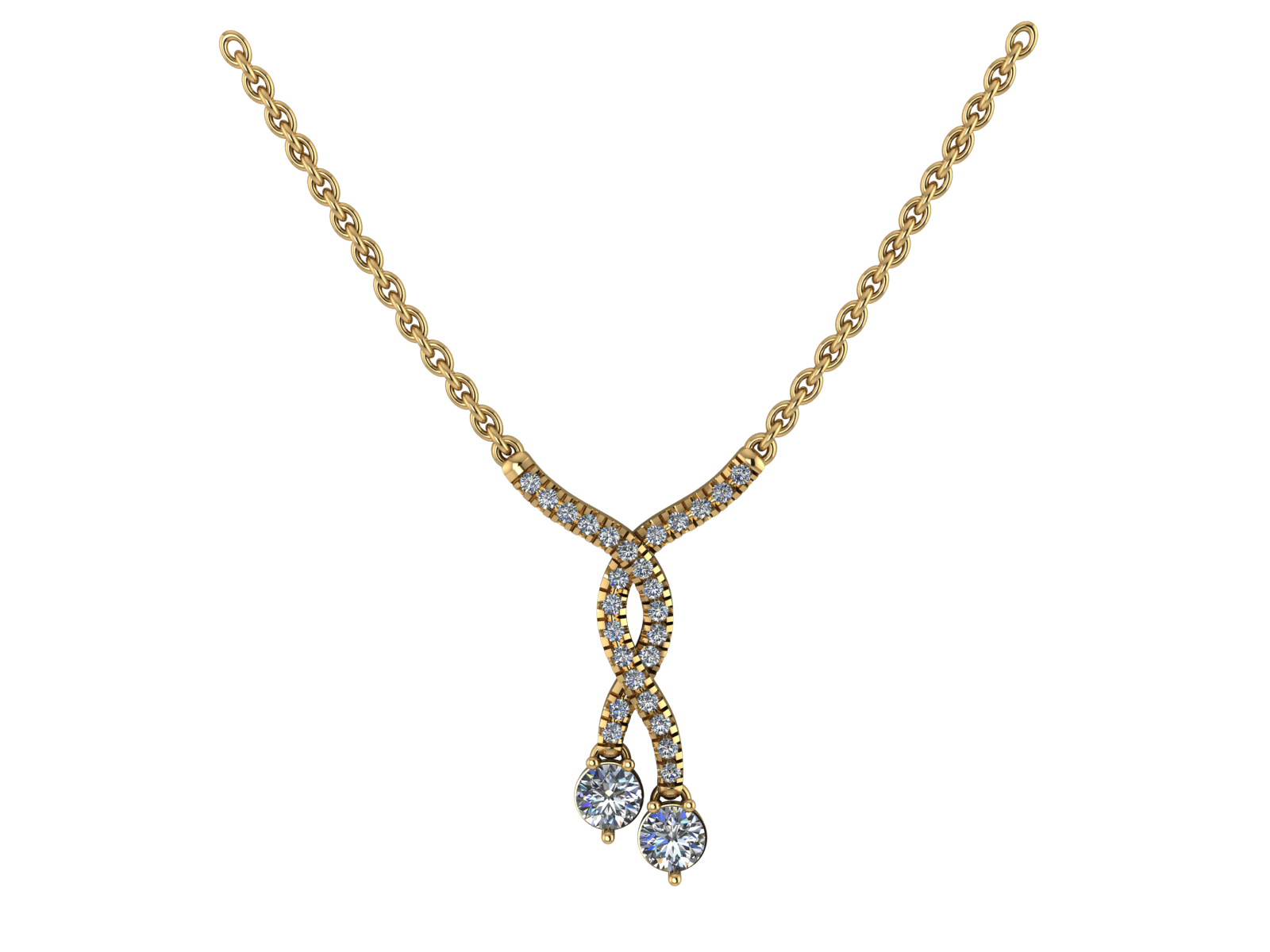 Two Stone twist Necklace Yellow.png