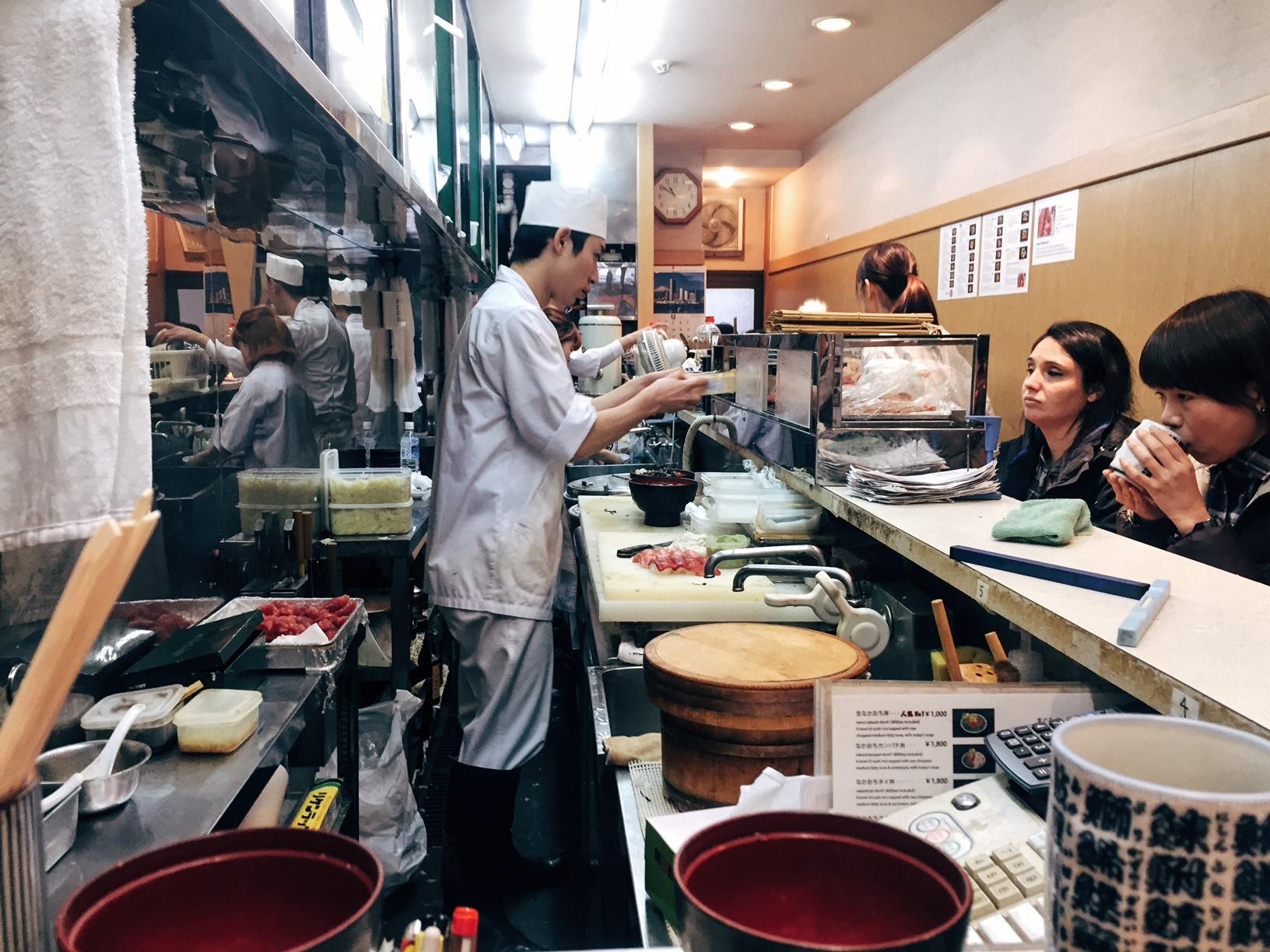 Sushi at Tsukiji market in Tokyo