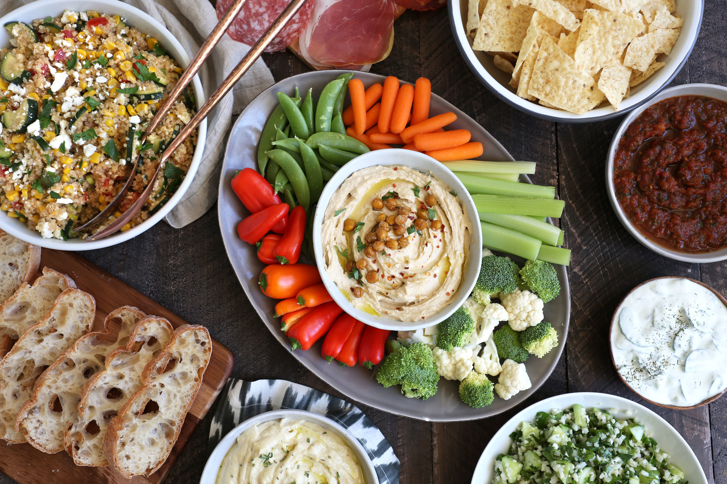 rooftop dinner party spread