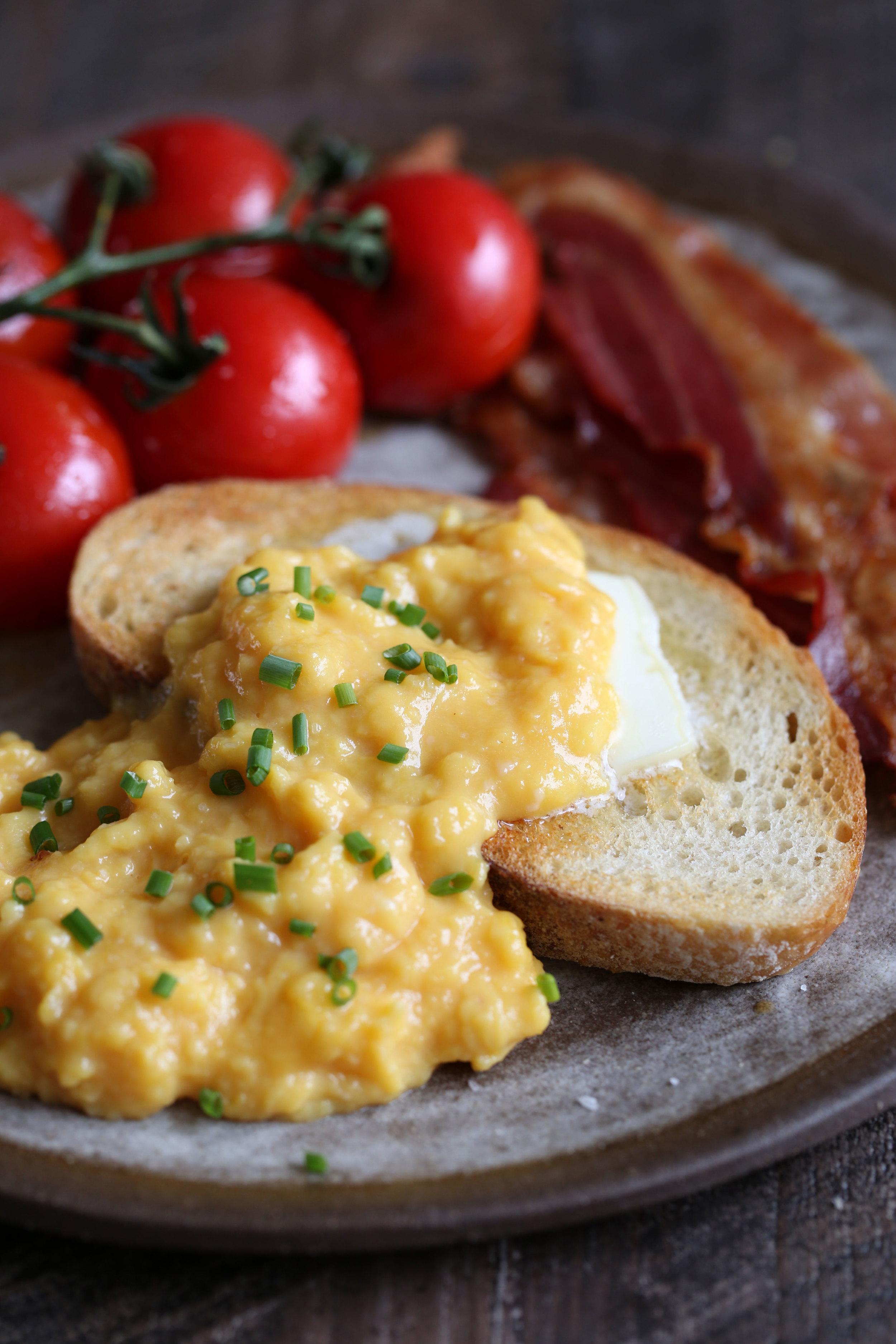 closeup soft scrambled eggs