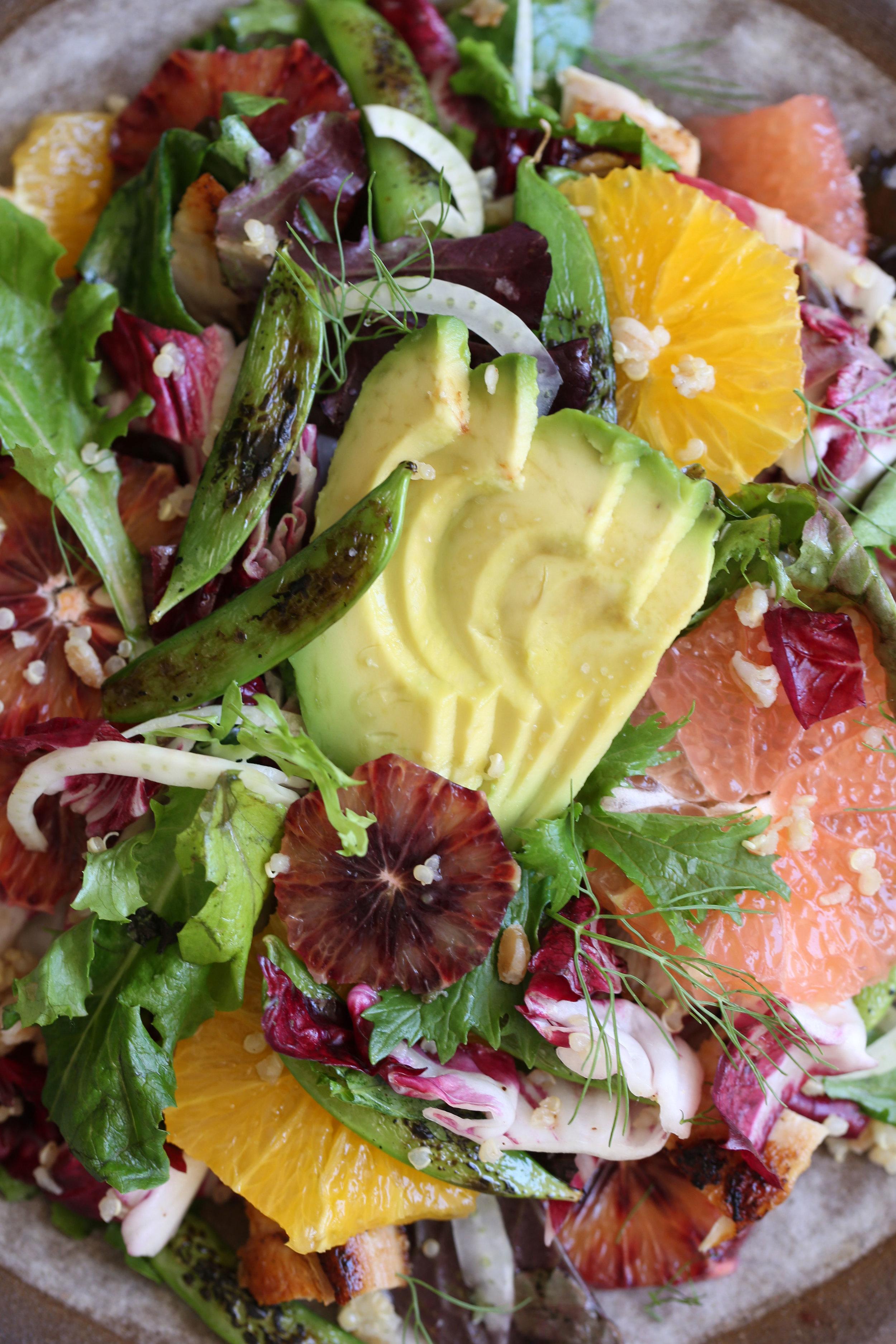 summer citrus salad closeup